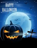 Halloween background with zombies and the moon Royalty Free Stock Image