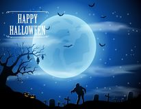 Halloween background with zombies and the moon. Royalty Free Stock Photo