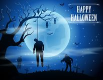 Halloween background with zombies and the moon Stock Photos