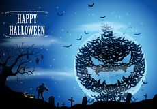 Halloween background with zombies and the moon Royalty Free Stock Images