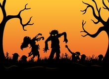 Halloween background with zombies, tombstones and on the cemetery Stock Photography