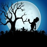 Halloween background with zombies, tree, and graveyard on the full moon. Illustration of Halloween background with zombies, tree, and graveyard on the full moon Royalty Free Stock Images