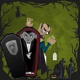 Halloween backgrounds set with vampire and their castle under full moon and cemetery, Draculas monster in coffin flat Stock Images
