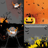 Halloween backgrounds set. Scary halloween backgrounds set with tree, sceleton, moon, pumkin, spooky house, spiders Royalty Free Stock Photography