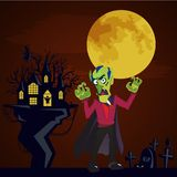Halloween backgrounds set with vampire and their castle on cemetery, Draculas monster in cloak flat vector illustrations Royalty Free Stock Photo