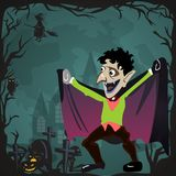 Halloween backgrounds set with vampire and their castle on cemetery, Draculas monster in cloak flat vector illustrations Stock Images