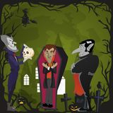 Halloween backgrounds set with vampire and their castle under full moon and cemetery, Draculas monster in coffin flat Royalty Free Stock Images