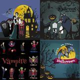 Halloween backgrounds set with vampire and their castle under full moon and cemetery, Draculas monster in coffin flat Stock Photo