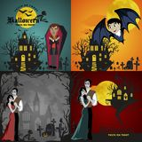 Halloween backgrounds set with vampire and their castle under full moon and cemetery, Draculas monster in coffin flat Royalty Free Stock Photography