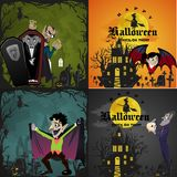 Halloween backgrounds set with vampire and their castle under full moon and cemetery, Draculas monster in coffin flat Stock Photography