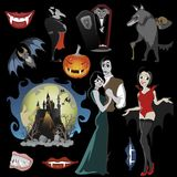 Halloween backgrounds set with vampire and their castle under full moon  Royalty Free Stock Image