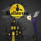 Halloween backgrounds with vampire and their castle on cemetery, Draculas monster in cloak flat vector illustrations Stock Photography