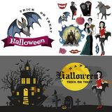 Halloween backgrounds with vampire and their castle on cemetery, Draculas monster in cloak flat vector illustrations Royalty Free Stock Photo