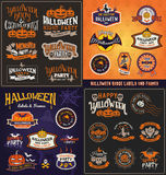 Halloween badge and label sticker big set collection. Royalty Free Stock Images