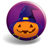 Halloween badge with pumpkin wearing witch hat Stock Photography