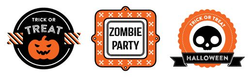 Halloween badges. Halloween emblems. They feature a pumpkin, bones and a skull. They read: Trick or Treat, Zombie Party and Halloween Royalty Free Stock Photography