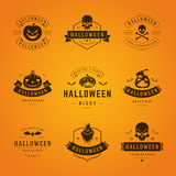 Halloween Badges and Labels, Greetings Cards. Set Vintage Happy Halloween Badges and Labels, Greetings Cards vector design elements Stock Images