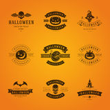 Halloween Badges and Labels, Greetings Cards. Set Vintage Happy Halloween Badges and Labels, Greetings Cards vector design elements Royalty Free Stock Photo