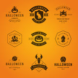 Halloween Badges and Labels, Greetings Cards. Set Vintage Happy Halloween Badges and Labels, Greetings Cards vector design elements Royalty Free Stock Images