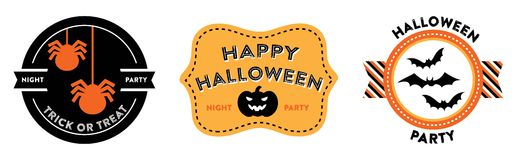 Halloween badges. October 31st emblems. They feature spiders, a pumpkin, and bats. They read: Night party, Trick or Treat, Happy Halloween and Halloween party Stock Photography