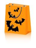Halloween bag bat. Vector Halloween shopping bag with spooky bats Royalty Free Stock Photo
