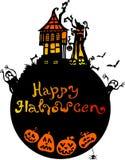Halloween bakgrund med det läskiga huset Arkivbilder