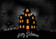 Halloween bakgrund med det läskiga huset Royaltyfria Foton