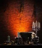 Halloween bakgrund med element för en radda Fotografering för Bildbyråer