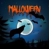 Halloween bakgrund med wolftjuten av moonen Royaltyfria Foton
