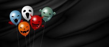 Halloween-ballon op zwarte stoffenachtergrond met exemplaarruimte stock illustratie