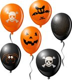 Halloween balloon set. Includes bat, skull, pumpkin, spider and spider web Royalty Free Stock Photography