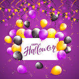 Halloween balloons and confetti on violet background. Card with lettering Happy Halloween on violet background with multicolored balloons, pennants, streamers Royalty Free Stock Photo