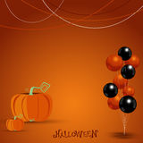 Halloween with balloons and pumpkin background. vector illustrat Stock Photos