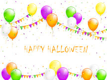 Halloween balloons and tinsel. Halloween background with multicolored balloons, pennants and confetti, illustration Stock Photography