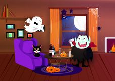 Halloween, bande dessinée de costume, vampire, araignée, batte et maison fantasmagorique et intérieure, partie de nuit, carte pos illustration libre de droits