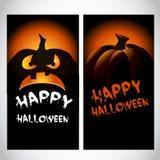 Halloween baner med pumpa Fotografering för Bildbyråer