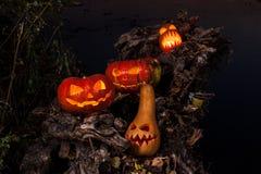 Halloween bania z paleń oczami Fotografia Royalty Free