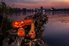 Halloween bania z paleń oczami Zdjęcie Royalty Free