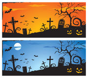 Halloween banner. Halloween scary cemetery in the landscape Stock Images