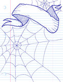 Halloween Banner. Hand drawn banner and spider web on lined paper Stock Photography