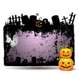 Halloween banner. Halloween background with cemetery and pumpkin Royalty Free Stock Images