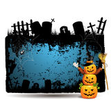 Halloween banner. With cemetery and pumpkin Stock Photo