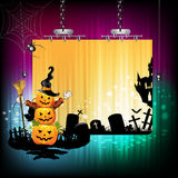 Halloween banner. Design with pumpkin and cemetery Stock Photography