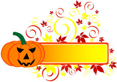 Halloween Banner. With pumpkin and leaf, isolated. Vector illustration Stock Photo