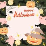 Halloween-Banner, affiche, malplaatje met pompoenen, spinnen, knuppels en suikergoed Royalty-vrije Stock Foto's