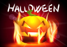 Halloween Banner. Halloween Background with Pumpkin in Flames Stock Images
