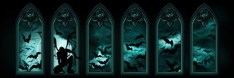 Halloween banner with bats and a fallen angel stock illustration