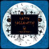 Halloween banner on blue grunge background. Black Halloween banner on blue grunge background with letterings Happy Halloween and Trick Or Treat, cemetery, trees Stock Image