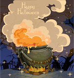 Halloween banner with the boiler Royalty Free Stock Image