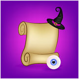 Halloween banner, card with empty paper scroll and eyeball, witches hat. Blank ancient scroll of parchment wallpaper, background. Royalty Free Stock Photos